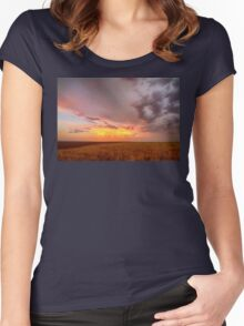 Colorado Eastern Plains Sunset Sky Women's Fitted Scoop T-Shirt