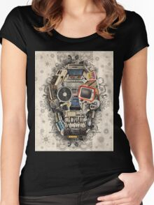 retro tech skull 2 Women's Fitted Scoop T-Shirt