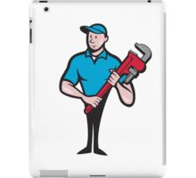 Plumber Holding Monkey Wrench Cartoon iPad Case/Skin
