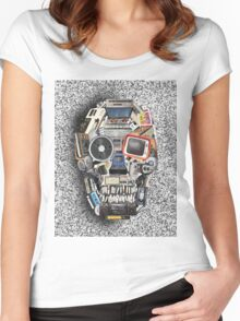 retro tech skull 3 Women's Fitted Scoop T-Shirt