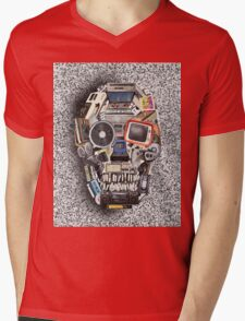 retro tech skull 3 Mens V-Neck T-Shirt