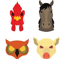 The Four Masks Photographic Print