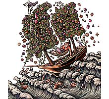 Woman in Ship on Ocean, Sails of Flowering Trees Photographic Print