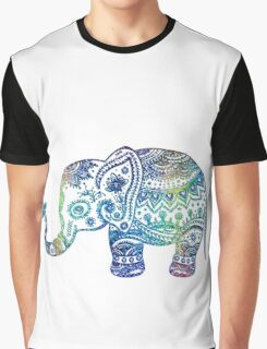Colorful Elephant Glitter Texture Graphic T-Shirt