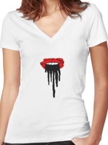 Dripping Lips Women's Fitted V-Neck T-Shirt
