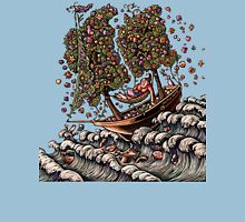 Woman in Ship on Ocean, Sails of Flowering Trees Womens Fitted T-Shirt