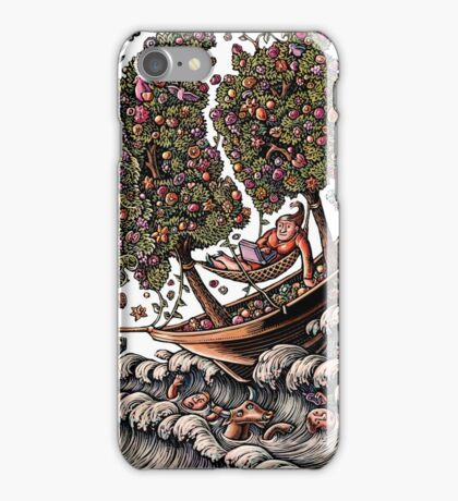 Woman in Ship on Ocean, Sails of Flowering Trees iPhone Case/Skin