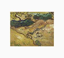 Vincent Van Gogh - Landscape With Rabbits. Field landscape: field landscape, nature, village, garden, flowers, trees, sun, rustic, countryside, sky and clouds, summer Unisex T-Shirt