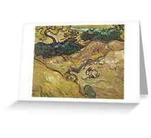 Vincent Van Gogh - Landscape With Rabbits. Field landscape: field landscape, nature, village, garden, flowers, trees, sun, rustic, countryside, sky and clouds, summer Greeting Card