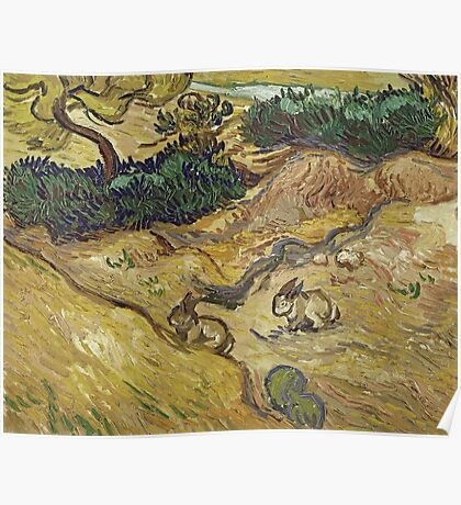 Vincent Van Gogh - Landscape With Rabbits. Field landscape: field landscape, nature, village, garden, flowers, trees, sun, rustic, countryside, hare, hares, summer Poster