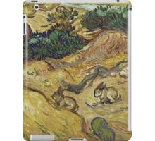 Vincent Van Gogh - Landscape With Rabbits. Field landscape: field landscape, nature, village, garden, flowers, trees, sun, rustic, countryside, hare, hares, summer iPad Case/Skin