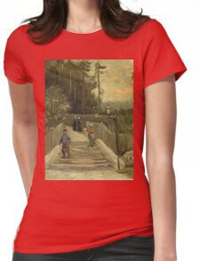 Vincent Van Gogh - Path In Montmartre. Street landscape: city view, streets, building, houses, prospects, cityscape, architecture, roads, travel landmarks, panorama garden, buildings Womens Fitted T-Shirt