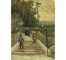 Vincent Van Gogh - Path In Montmartre. Street landscape: city view, streets, building, houses, prospects, cityscape, architecture, roads, travel landmarks, panorama garden, buildings Photographic Print