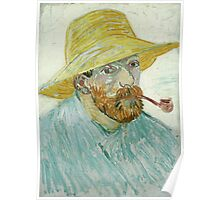 Vincent Van Gogh - Self-Portrait With Pipe And Straw Hat. Man portrait Poster