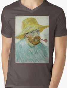 Vincent Van Gogh - Self-Portrait With Pipe And Straw Hat. Man portrait Mens V-Neck T-Shirt