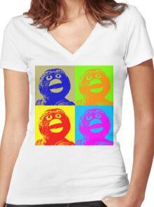 Don't Hug Me I'm Scared Pop Art Women's Fitted V-Neck T-Shirt