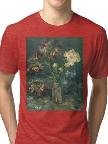 Vincent Van Gogh - Small Bottle With Peonies And Blue Delphiniums. Still life with flowers: blossom, nature, botanical, floral flora, wonderful flower, plants, plant, kitchen interior, garden, vase Tri-blend T-Shirt