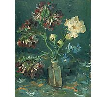 Vincent Van Gogh - Small Bottle With Peonies And Blue Delphiniums. Still life with flowers: blossom, nature, botanical, floral flora, wonderful flower, plants, plant, kitchen interior, garden, vase Photographic Print