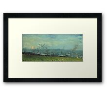 Vincent Van Gogh - Sunset In Montmartre. Urban landscape: city view, streets, building, house, trees, cityscape, architecture, construction, travel landmarks, panorama garden, buildings Framed Print
