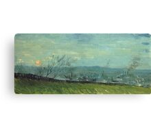 Vincent Van Gogh - Sunset In Montmartre. Urban landscape: city view, streets, building, house, trees, cityscape, architecture, construction, travel landmarks, panorama garden, buildings Canvas Print