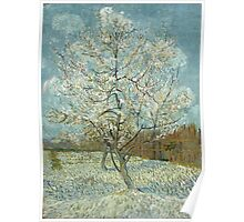 Vincent Van Gogh - The Pink Peach Tree. Garden landscape: garden view, trees and flowers, blossom, nature, botanical park, floral flora, wonderful flowers, plants, cute plant, garden, flower Poster