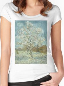 Vincent Van Gogh - The Pink Peach Tree. Garden landscape: garden view, trees and flowers, blossom, nature, botanical park, floral flora, wonderful flowers, plants, cute plant, garden, flower Women's Fitted Scoop T-Shirt
