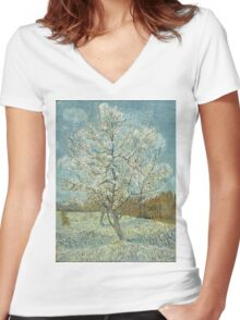 Vincent Van Gogh - The Pink Peach Tree. Garden landscape: garden view, trees and flowers, blossom, nature, botanical park, floral flora, wonderful flowers, plants, cute plant, garden, flower Women's Fitted V-Neck T-Shirt