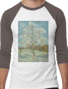Vincent Van Gogh - The Pink Peach Tree. Garden landscape: garden view, trees and flowers, blossom, nature, botanical park, floral flora, wonderful flowers, plants, cute plant, garden, flower Men's Baseball ¾ T-Shirt