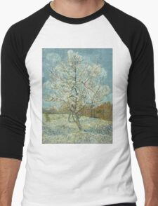 Vincent Van Gogh - The Pink Peach Tree. Garden landscape: garden view, trees and flowers, blossom, nature, botanical park, floral flora, wonderful flowers, plants, cute plant, garden, flower Men's Baseball ¾ T-Shirt