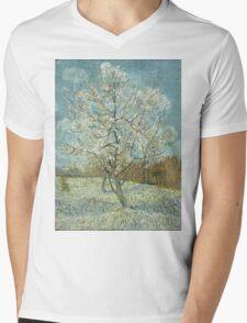 Vincent Van Gogh - The Pink Peach Tree. Garden landscape: garden view, trees and flowers, blossom, nature, botanical park, floral flora, wonderful flowers, plants, cute plant, garden, flower Mens V-Neck T-Shirt