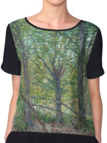 Vincent Van Gogh - Trees. Forest view: forest , trees,  fauna, nature, birds, animals, flora, flowers, plants, field, weekend Chiffon Top