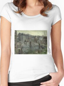 Vincent Van Gogh - View From Vincent S Studio. House landscape: city view, streets, building, little house, church, cityscape, architecture, construction, travel landmarks, panorama garden, buildings Women's Fitted Scoop T-Shirt