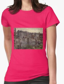 Vincent Van Gogh - View From Vincent S Studio. House landscape: city view, streets, building, little house, church, cityscape, architecture, construction, travel landmarks, panorama garden, buildings Womens Fitted T-Shirt