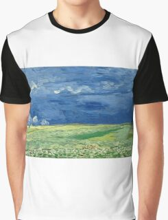 Vincent Van Gogh - Wheatfield Under Thunderclouds. Field landscape: field landscape, nature, village, garden, flowers, trees, sun, rustic, countryside, sky and clouds, summer Graphic T-Shirt