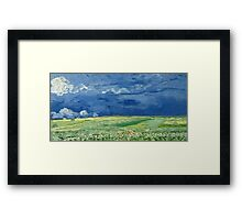Vincent Van Gogh - Wheatfield Under Thunderclouds. Field landscape: field landscape, nature, village, garden, flowers, trees, sun, rustic, countryside, sky and clouds, summer Framed Print
