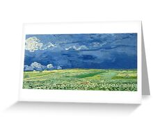 Vincent Van Gogh - Wheatfield Under Thunderclouds. Field landscape: field landscape, nature, village, garden, flowers, trees, sun, rustic, countryside, sky and clouds, summer Greeting Card
