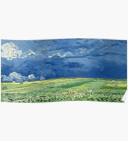 Vincent Van Gogh - Wheatfield Under Thunderclouds. Field landscape: field landscape, nature, village, garden, flowers, trees, sun, rustic, countryside, sky and clouds, summer Poster