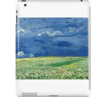 Vincent Van Gogh - Wheatfield Under Thunderclouds. Field landscape: field landscape, nature, village, garden, flowers, trees, sun, rustic, countryside, sky and clouds, summer iPad Case/Skin