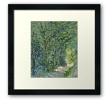 Vincent Van Gogh - Path In The Woods. Forest view: forest , trees,  fauna, nature, birds, animals, flora, flowers, plants, field, weekend Framed Print