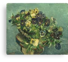 Vincent Van Gogh - Basket Of Pansies. Still life with flowers: flowers, blossom, nature, botanical, floral flora, wonderful flower, plants, cute plant for kitchen interior, garden, vase Canvas Print