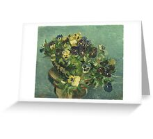 Vincent Van Gogh - Basket Of Pansies. Still life with flowers: flowers, blossom, nature, botanical, floral flora, wonderful flower, plants, cute plant for kitchen interior, garden, vase Greeting Card