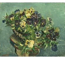 Vincent Van Gogh - Basket Of Pansies. Still life with flowers: flowers, blossom, nature, botanical, floral flora, wonderful flower, plants, cute plant for kitchen interior, garden, vase Photographic Print