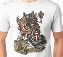 House in barbershop chair getting beauty treatment Unisex T-Shirt