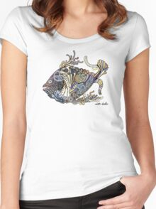 Dragon Fish Pattern Women's Fitted Scoop T-Shirt