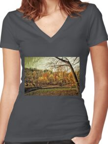 Distressed Fall Landscape Women's Fitted V-Neck T-Shirt
