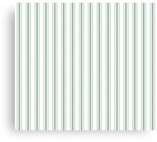 Mattress Ticking Wide Striped Pattern in Moss Green and White Canvas Print
