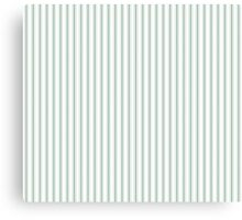 Mattress Ticking Narrow Striped Pattern in Moss Green and White Canvas Print