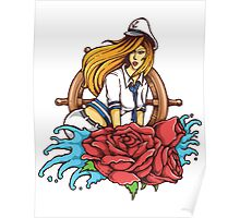 Hot Female Ship Captain with Red Roses Tattoo Style Poster