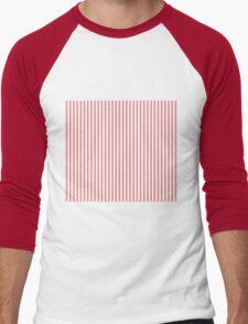 Mattress Ticking Narrow Striped Pattern in Red and White Men's Baseball ¾ T-Shirt