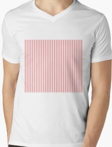 Mattress Ticking Narrow Striped Pattern in Red and White Mens V-Neck T-Shirt